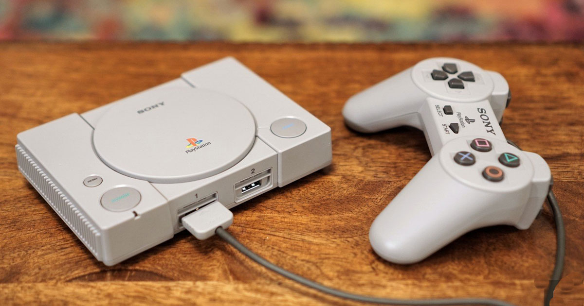 sony playStation classic console on a table