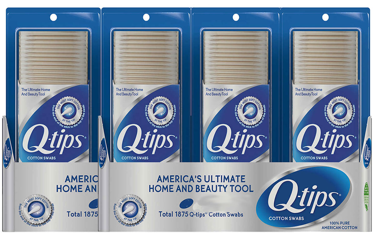 stock image of 4-Pack of Q-Tips Cotton Swabs 500-count