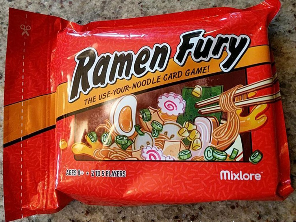 Ramen Fury noodle card game on counter