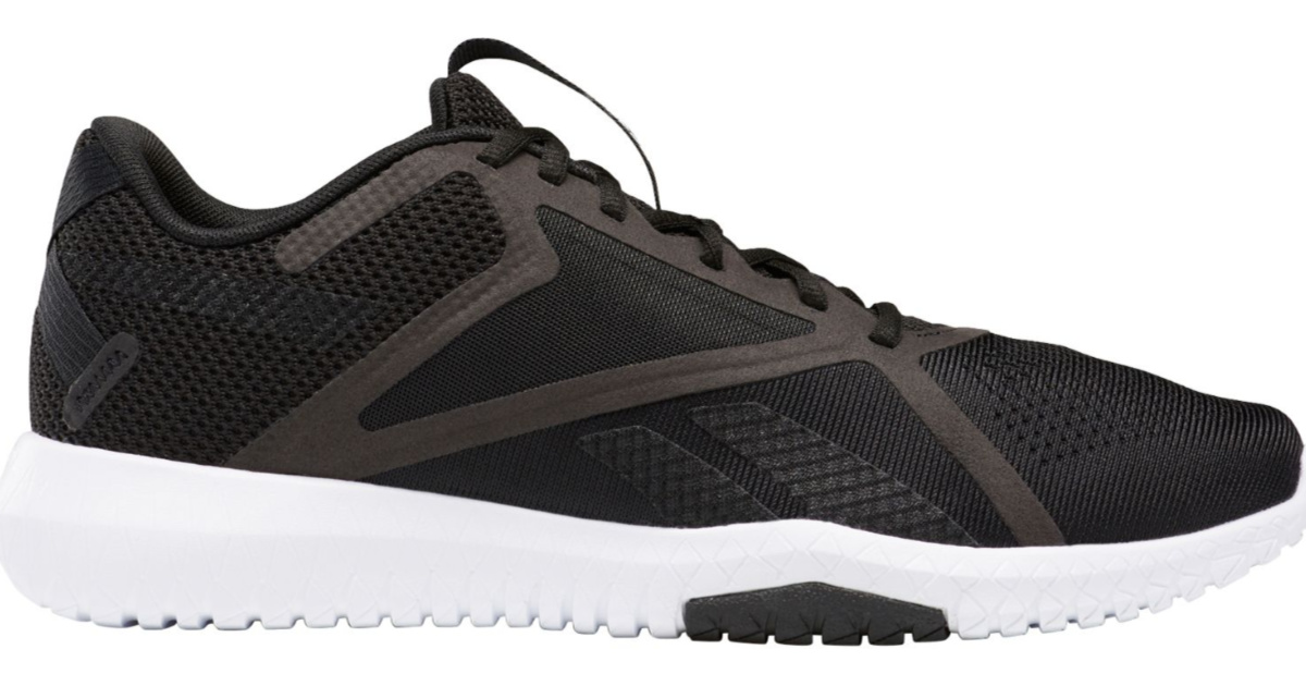 reebok black flexagon shoes with a white sole