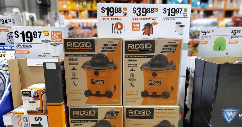 in store picture of RIDGID 16 Gallon 5.0-Peak HP Wet Dry Vac