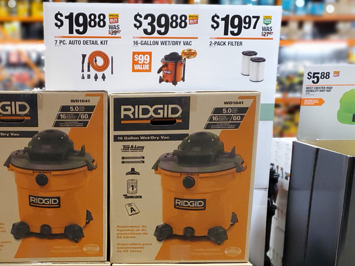 RIGID 16 gallon wet dry vac in store at Home Depot