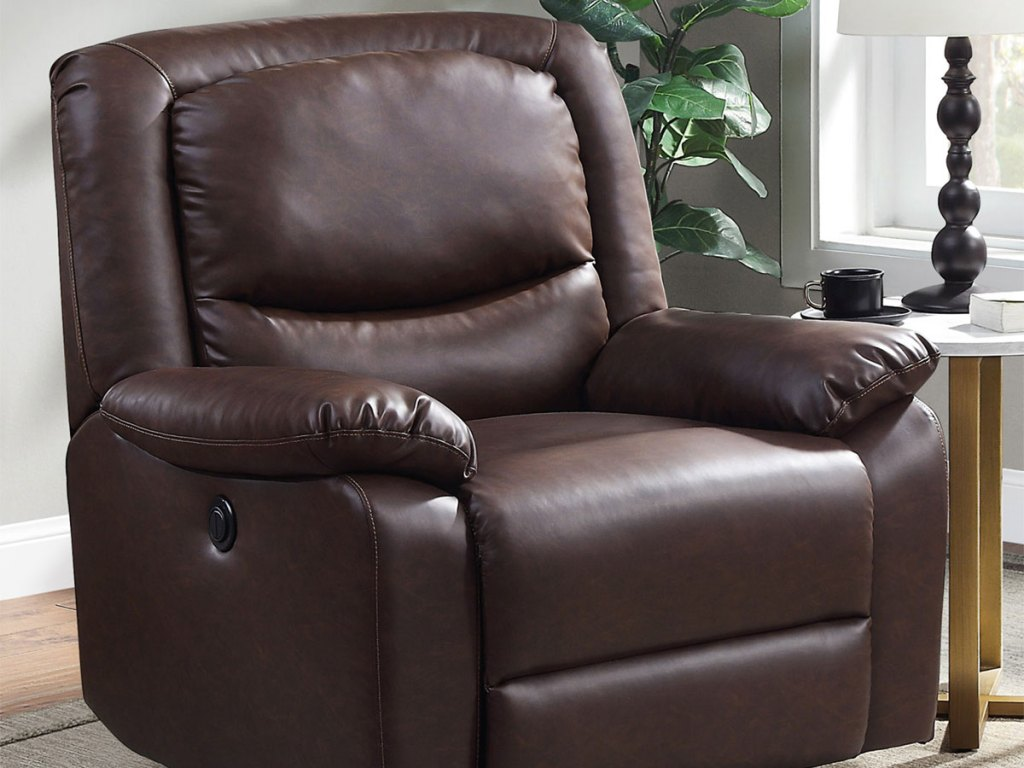 Serta Push-Button Power Recliner with Deep Body Cushions in upright position in living room