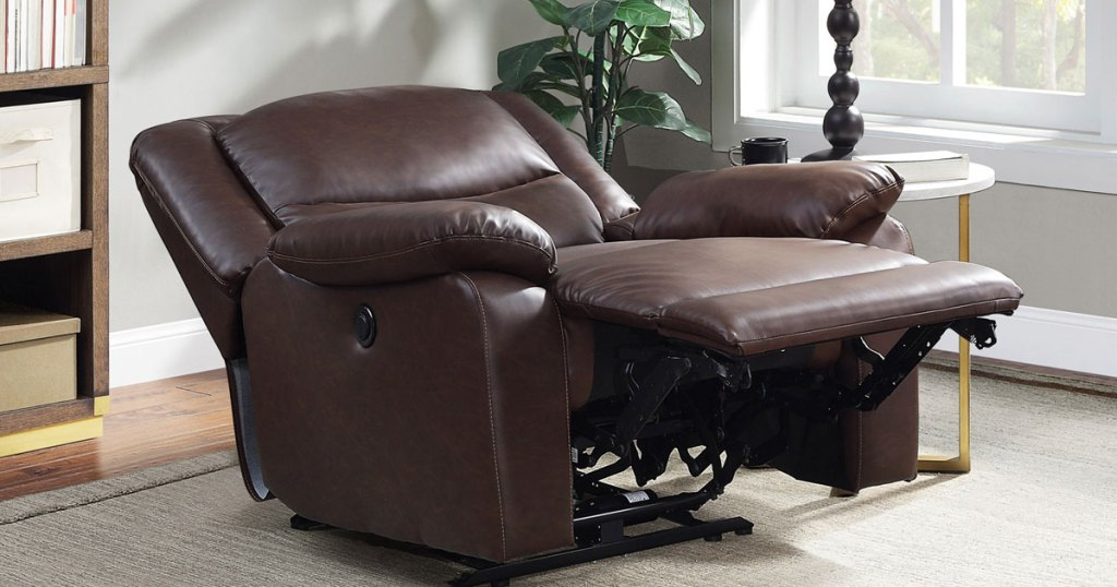 Serta Push-Button Power Recliner with Deep Body Cushions in recline mode in living room