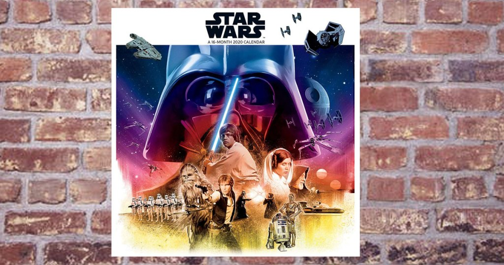 star wars 2020 wall calendar on a brick wall