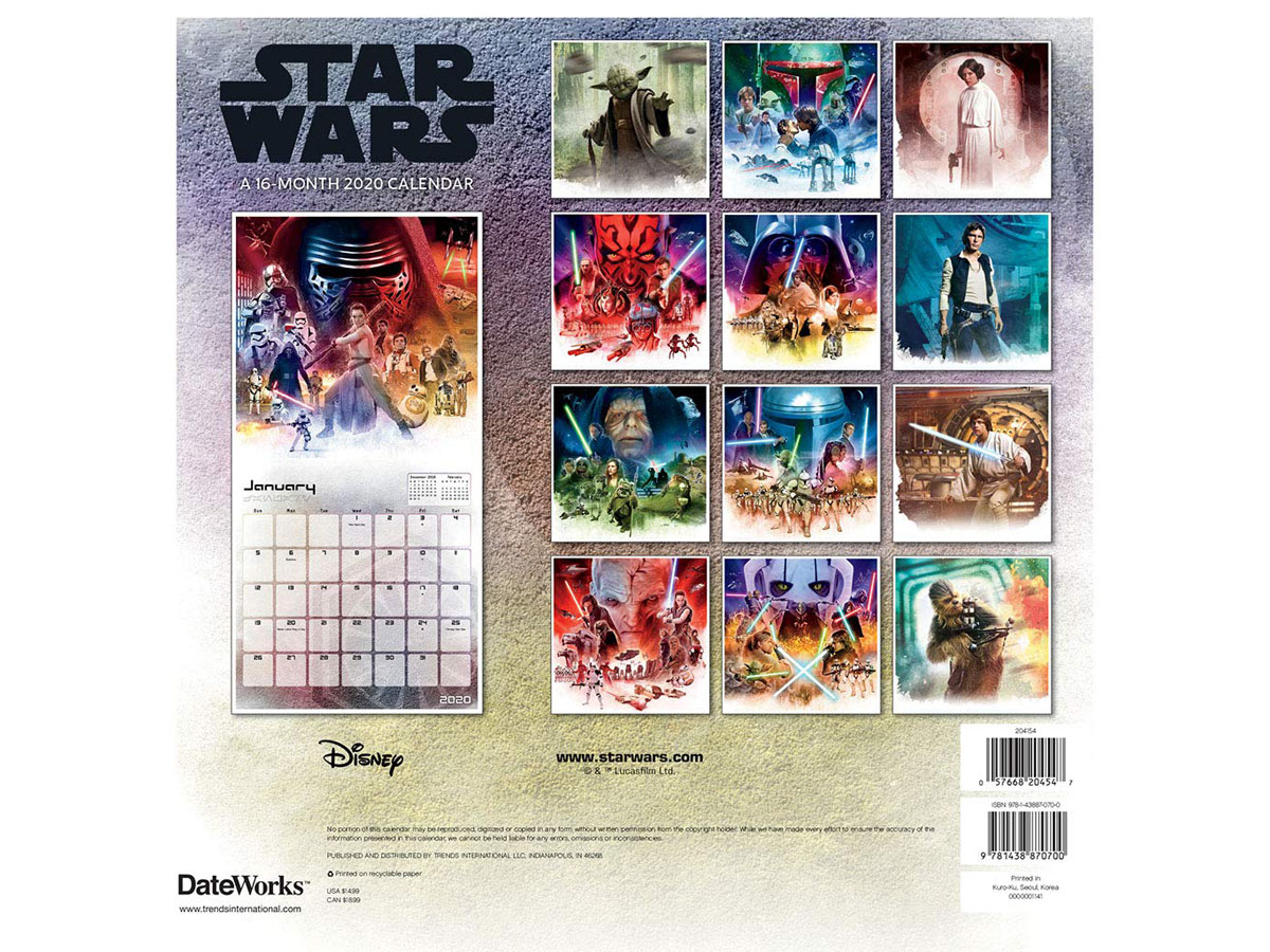star wars 2020 calendar showing all 16 pictures