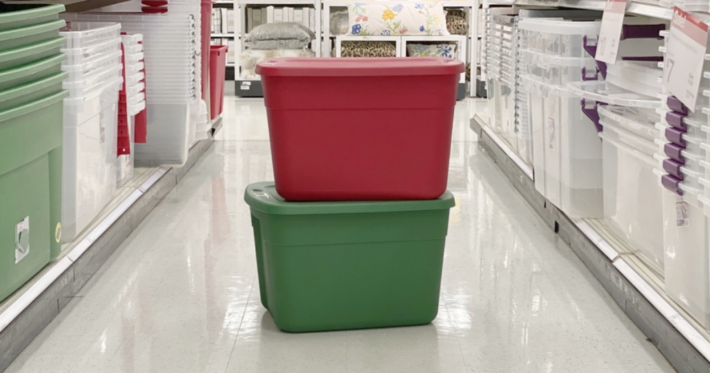 red and green Sterilite storage tubs