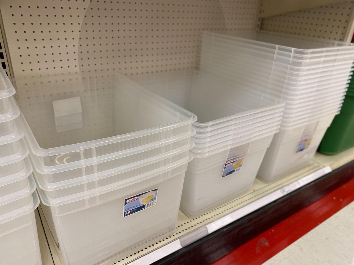 Sterilite 66qt Clearview Box on shelf in Target