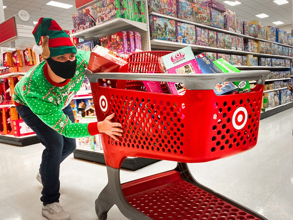 man in target in christmas attire