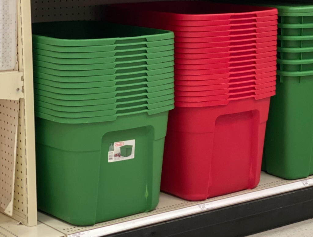 Sterilite red and green storage tubs