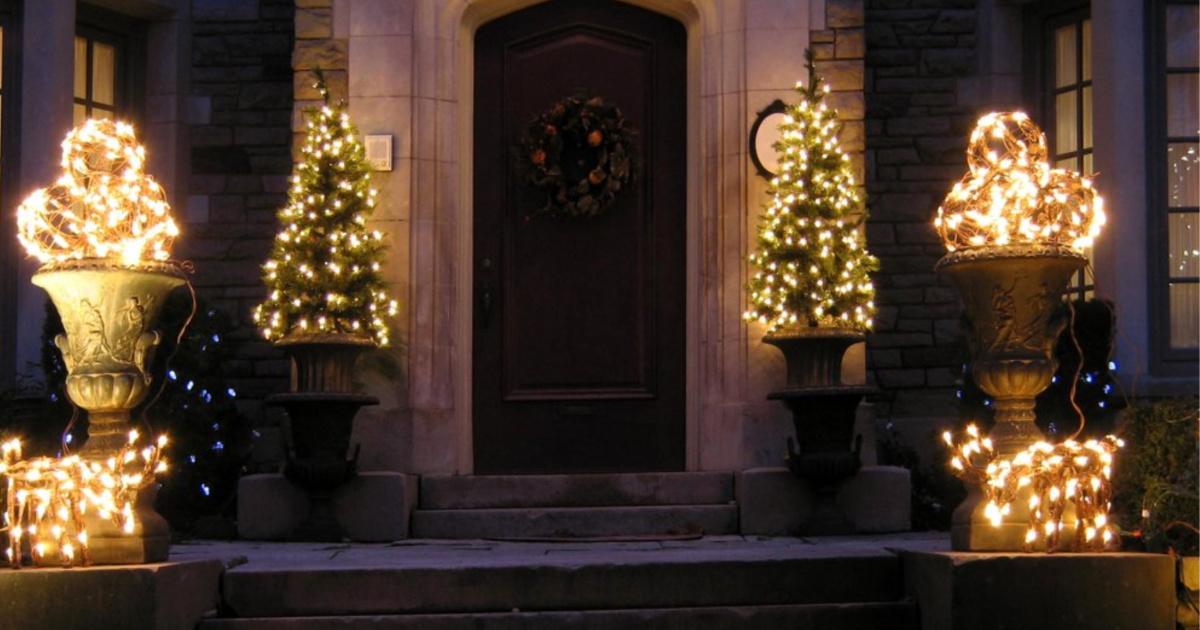 christmas lights on porch