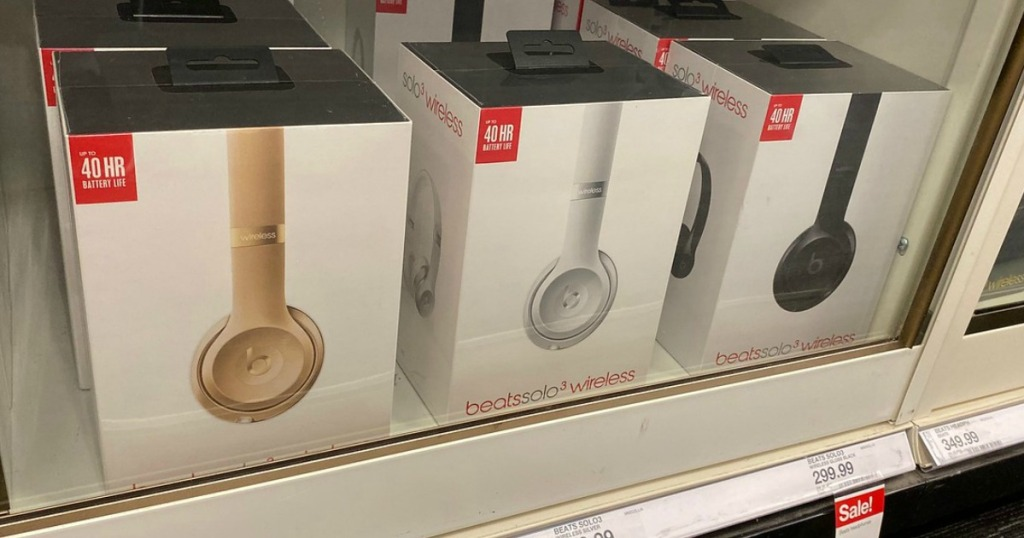 beats solo3 headphones on a shelf in a target store