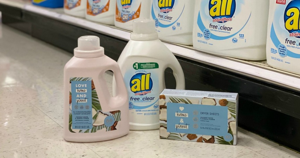 laundry products on the floor in a store