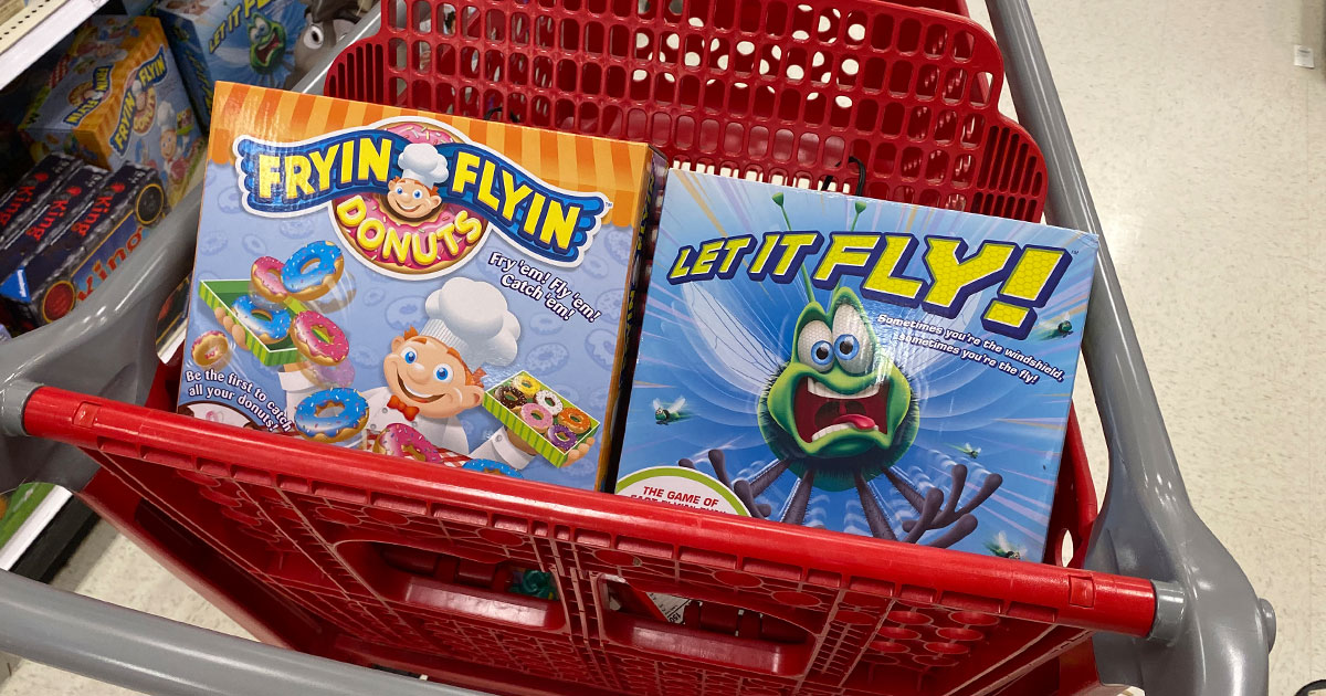 target shopping cart with Maya games fryin flyin donuts and let it fly