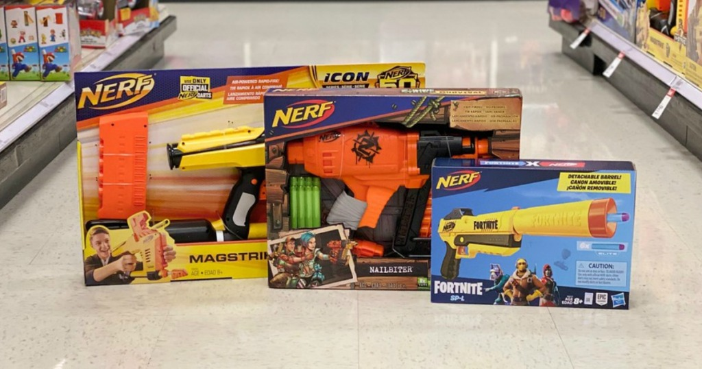 nerf toys on the floor in a target store