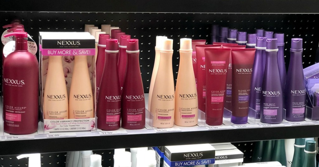 nexxus hair care on a shelf in a store