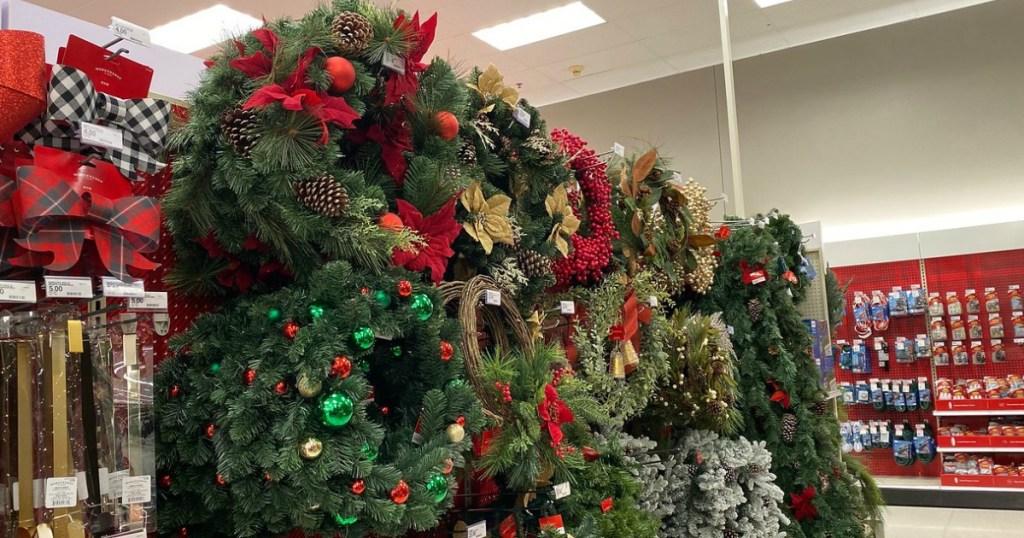 wondershop garlands and wreaths in target store