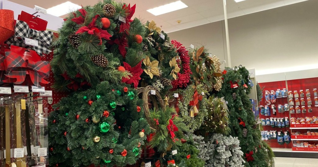 wondershop garlands and wreaths in target store