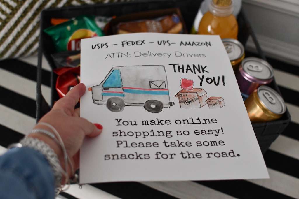holding thank you delivery driver printable