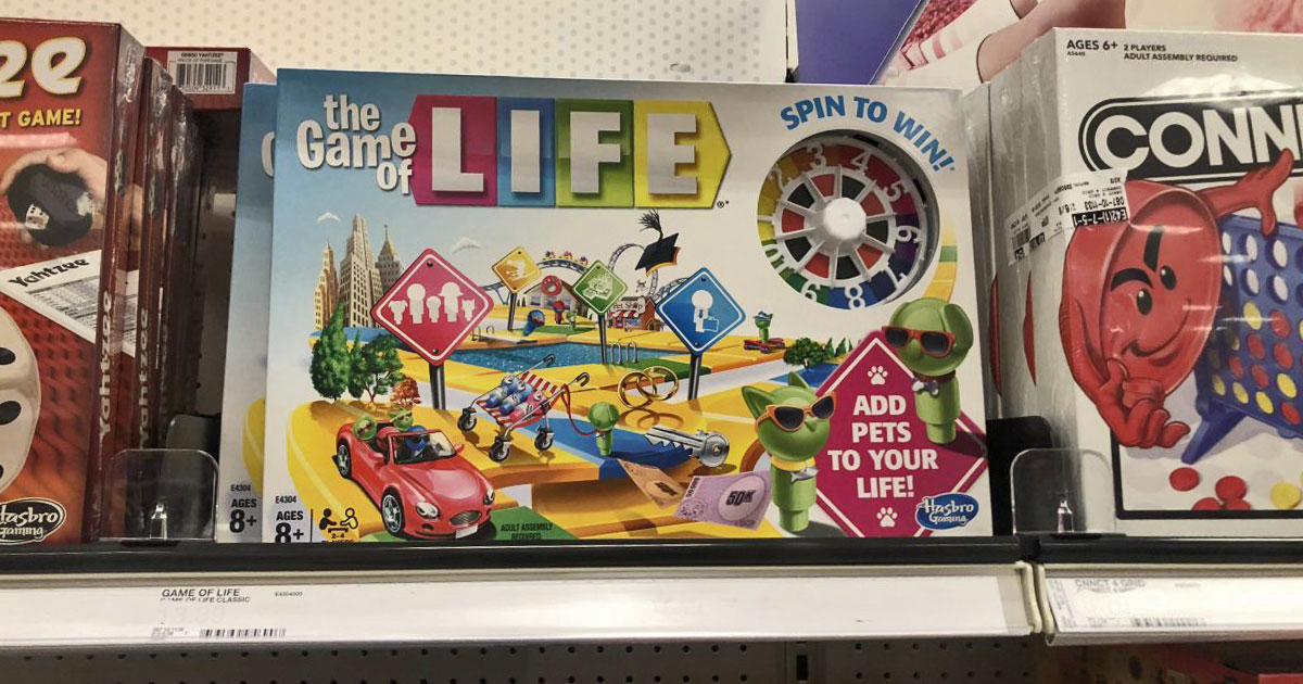 the game of life on a shelf in a random store price tag removed