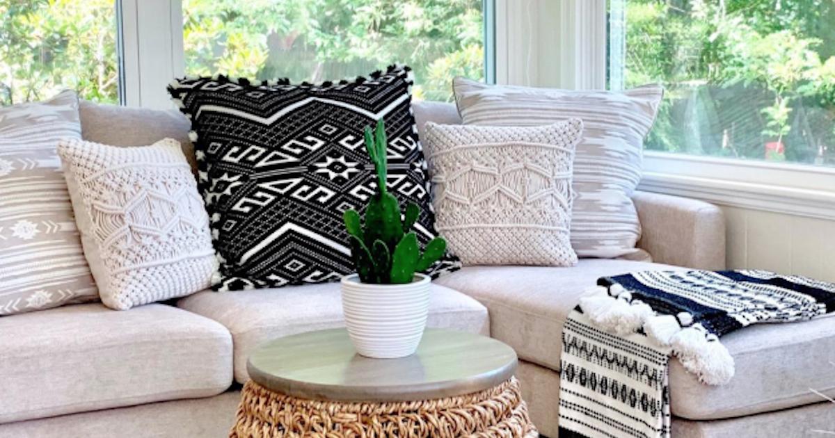 dontdo Square Throw Pillow Case,Home Sofa Decor Solid Color Decorative Cushion Cover 45x45cm White
