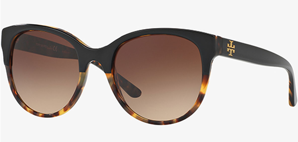 Tory Burch Black Tortoise Round Sunglasses with Gradient Lens stock image