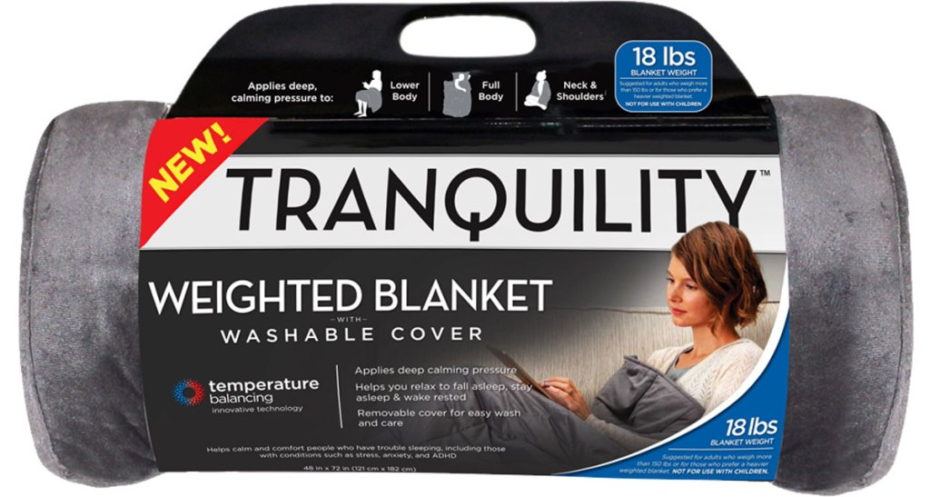 Tranquility Temperature Balancing 18lb Weighted Blanket with Washable Cover stock image