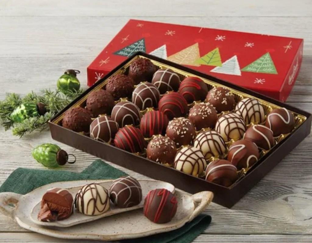 christmas gift box of decorated chocolate truffles