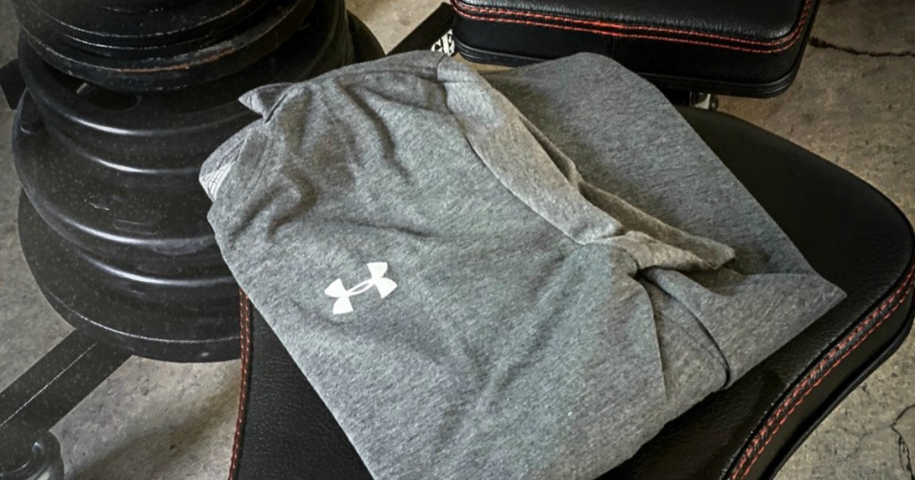 under armour shirt on weight bench