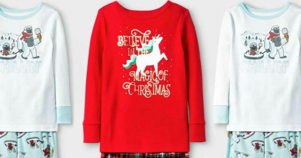 christmas themed pajamas on white background