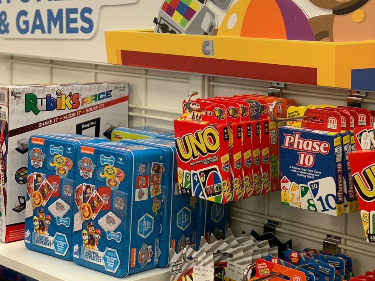 card games hanging on store shelf