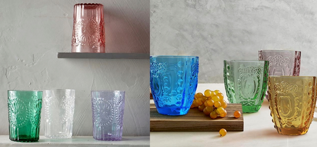 vintage style drinking glasses in various colors