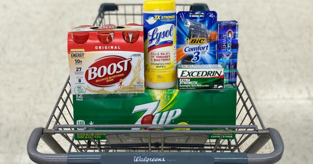 shakes, wipes, razors, pain reliever, soda and toothpaste in a shopping cart