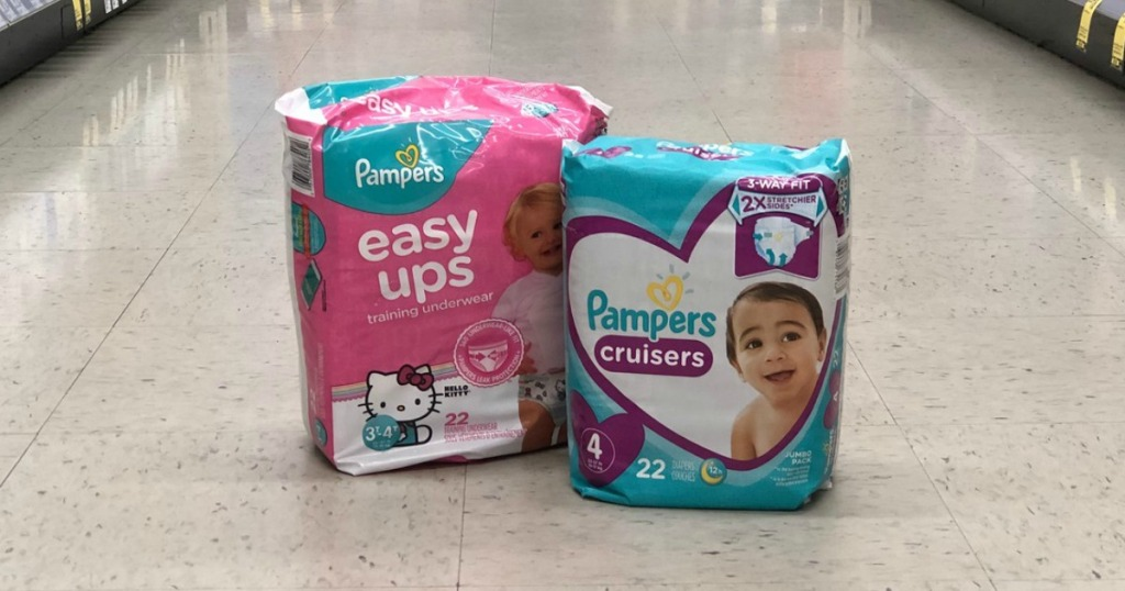 diapers on the floor in a store