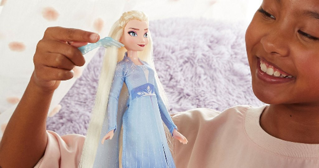Disney Frozen Long Hair Doll (Elsa or Anna) w/ Automatic Hair Braiding Tool little girl playing with the doll