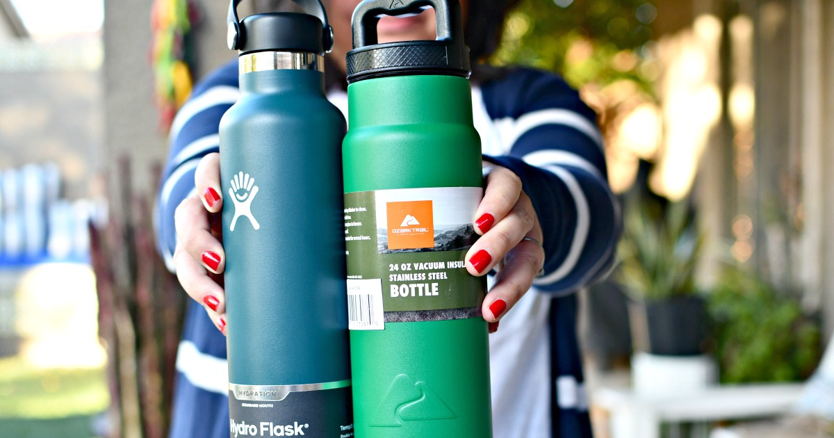 holding 2 insulated water bottles