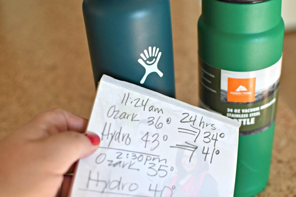 water temperature test water bottles