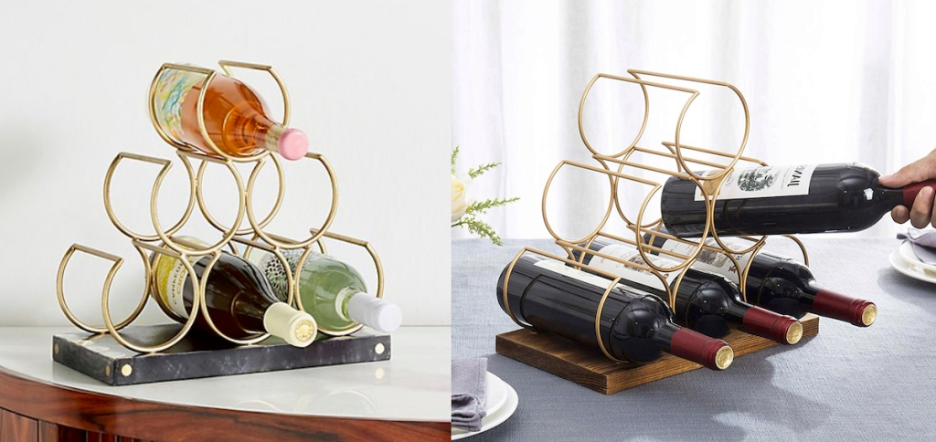 gold circle shaped tabletop wine racks with bottles of wine