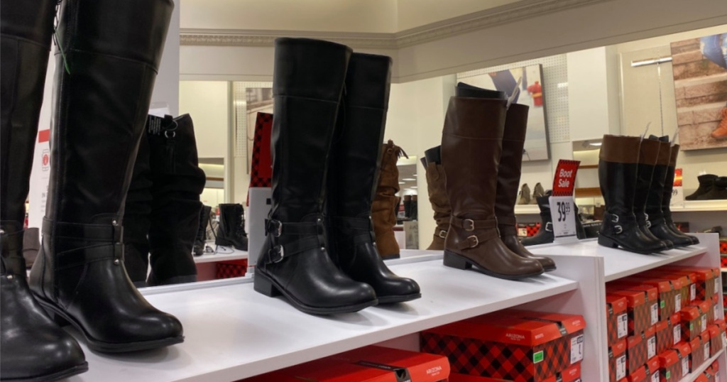 womens boots on display at jcpenney