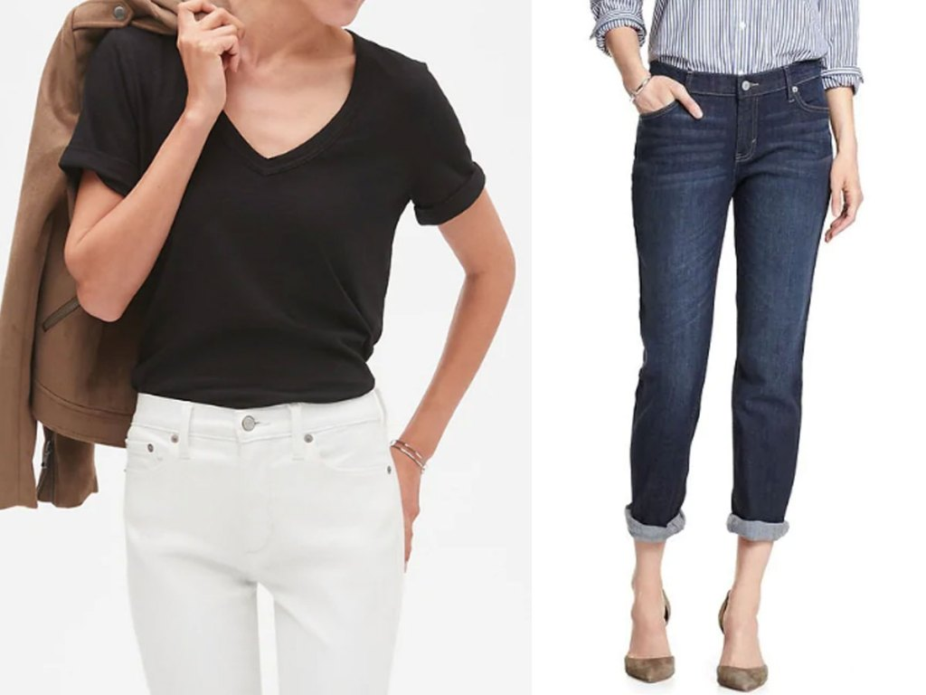 women's tshirt and jeans at banana republic factory