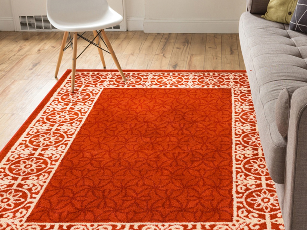 Red Floral-Border Mystic Rug Well Woven
