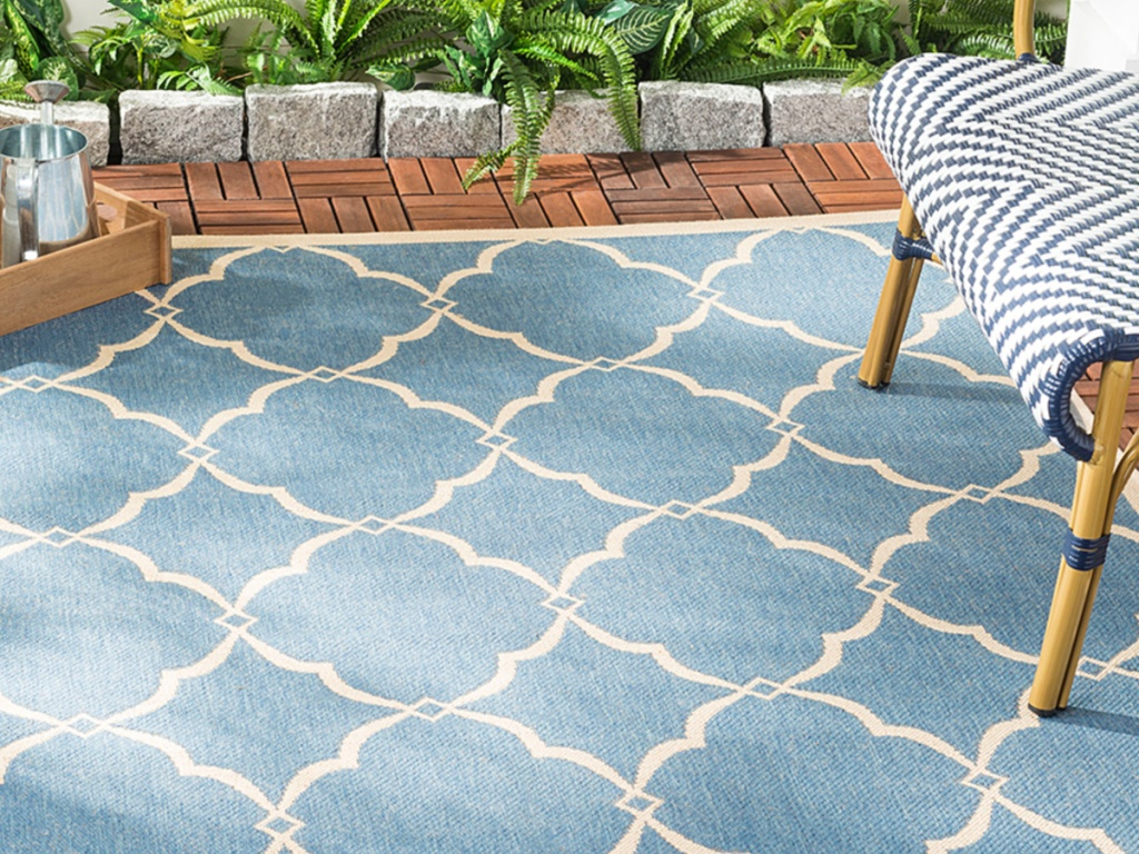 Blue & Creme Gina Beach House Indoor/Outdoor Rug Safavieh Rugs