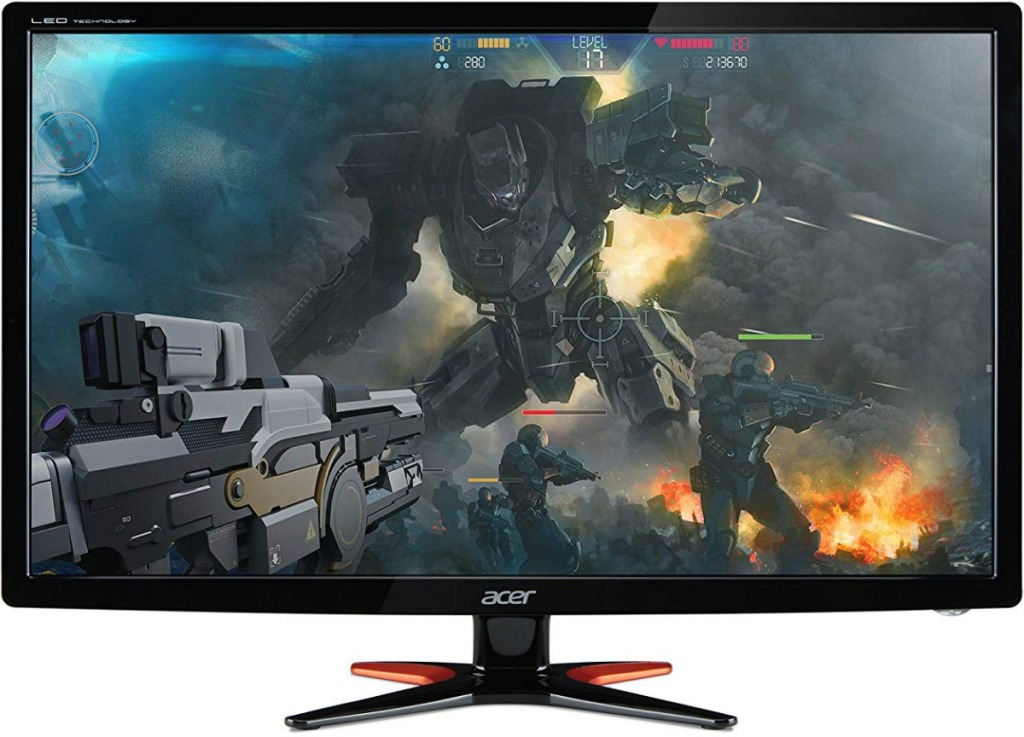 A large curved monitor with video game scene on screen