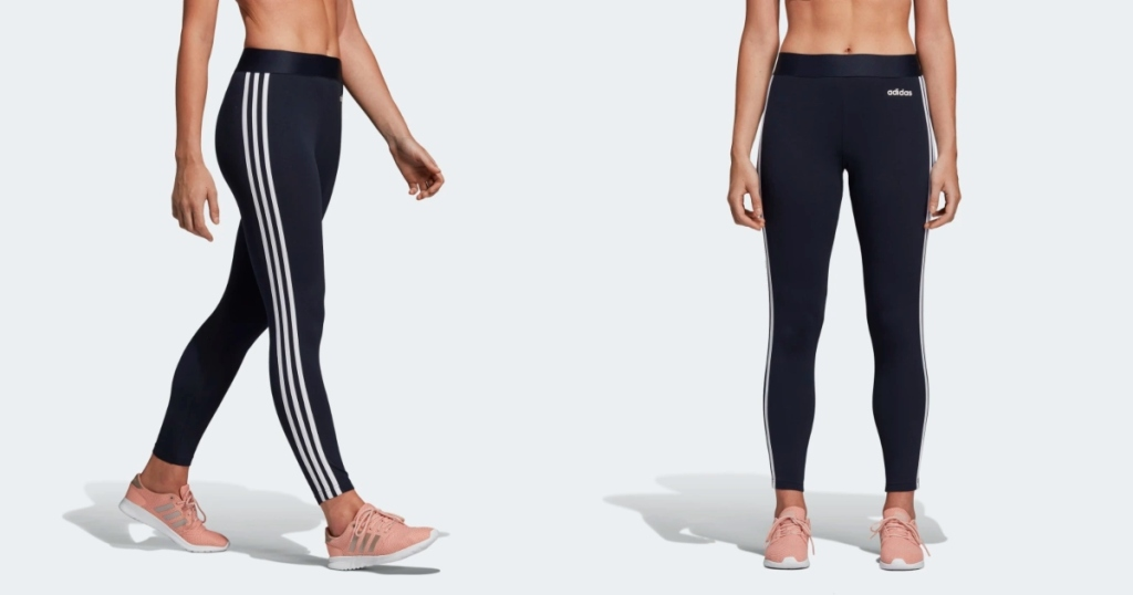 Adidas three stripe tights. the legs of two ladies wearing the tights. One lady walking, side view. The other lady standing front view