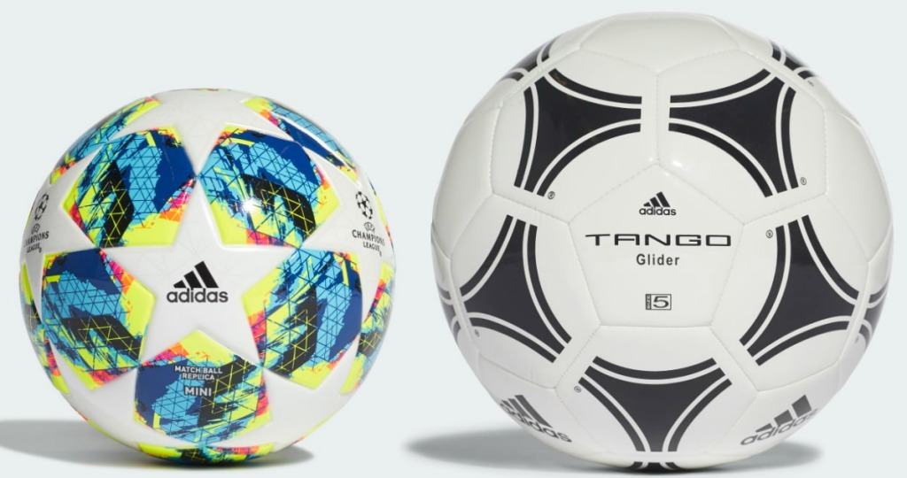 two styles and sizes of men's soccer balls