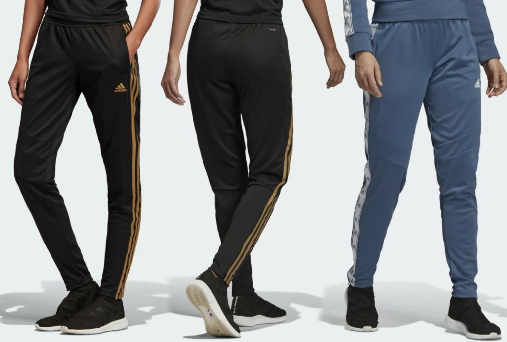 Three styles of women's soccer pants front and back view