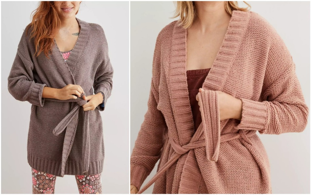 side by side pics of women wearing pink and brown Aerie Chenille Belted Cardigans