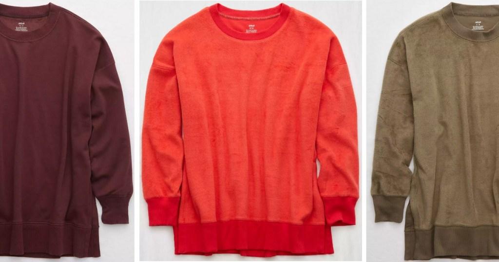 3 different Aerie Oversized Coziest Desert Sweatshirts