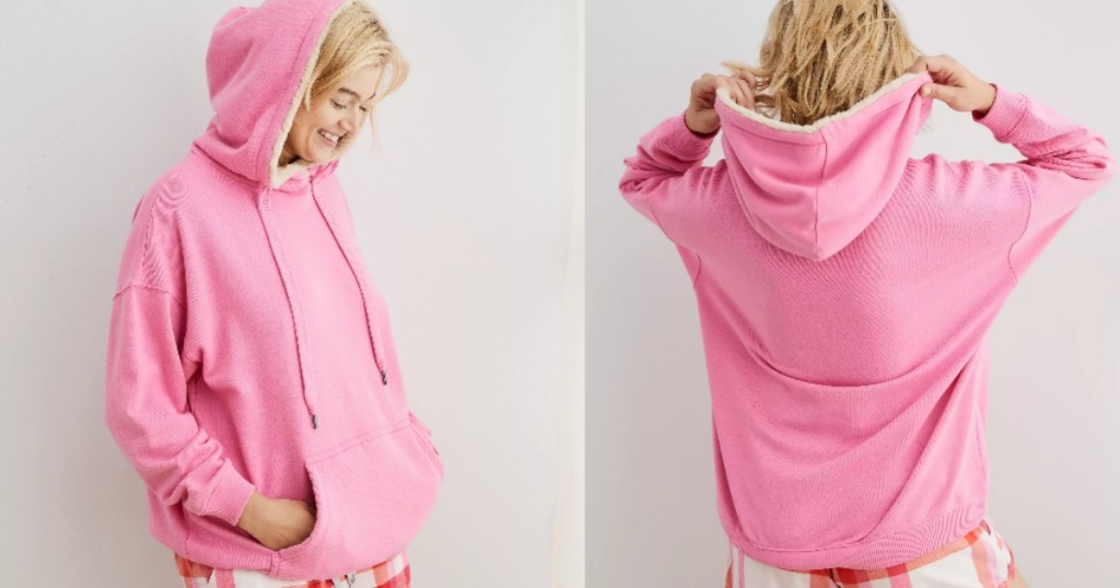 front and back view of woman wearing oversized pink hoodie