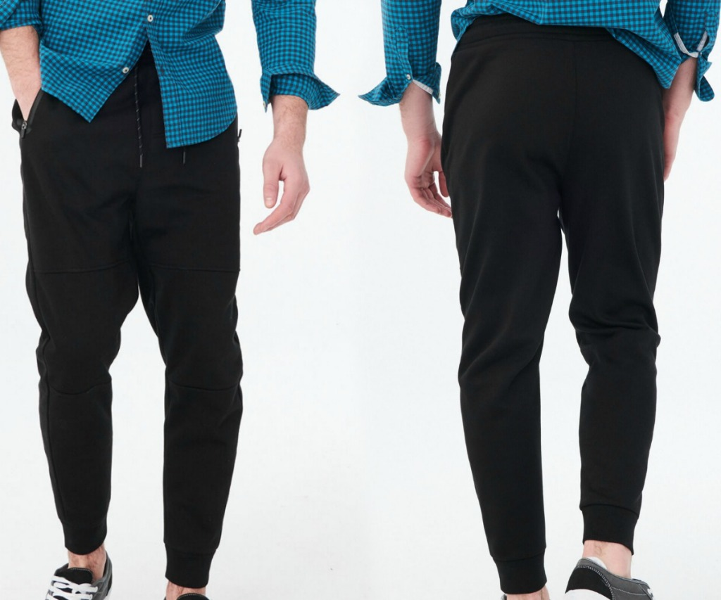 Man wearing black jogger pants - front and back view